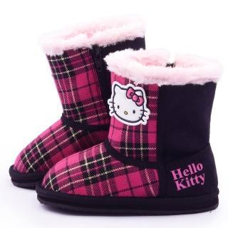 【三麗鷗】Hello Kitty 中童 經典格紋保暖雪靴(715143-黑)