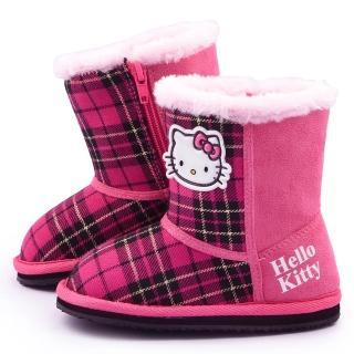 【三麗鷗】Hello Kitty 中童 經典格紋保暖雪靴(715143-桃紅)