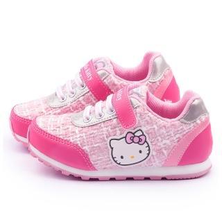 【三麗鷗】Hello Kitty 中大童 毛呢格紋輕量運動鞋(715162-粉)