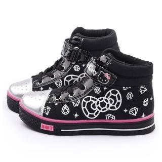 【三麗鷗】Hello Kitty 中大童 酷黑水鑽中筒帆布鞋(715170-黑)