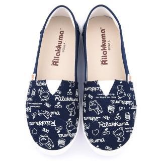 【童鞋城堡】拉拉熊 女款 塗鴉印刷帆布休閒鞋(KM82003-藍)