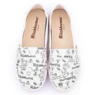 【童鞋城堡】拉拉熊 女款 塗鴉印刷帆布休閒鞋(KM82003-白)