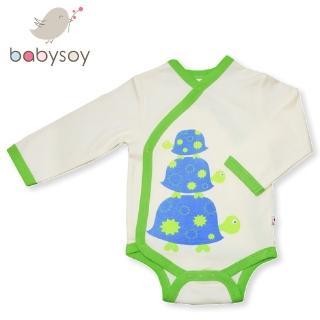 【美國 Babysoy】有機棉開襟式長袖包屁衣508(綠邊烏龜)