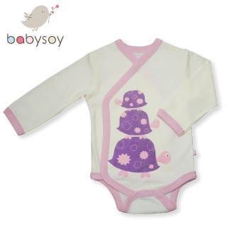 【美國 Babysoy】有機棉開襟式長袖包屁衣508(粉邊烏龜)