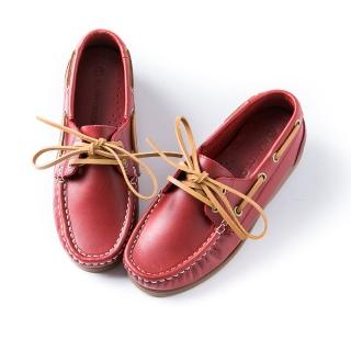 【ALAIN DELON】經典綁帶帆船鞋W7565(3色  藍色   紅色  咖啡色)