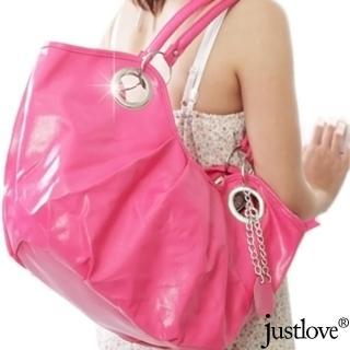 【justlove】抓皺時尚吊飾休閒肩背手提大包元寶半月包(2色 PG-0295)