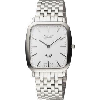 【Ogival】愛其華 都會簡約方形石英錶-銀/33mm(393MS)