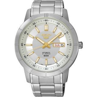 【SEIKO】精工5號盾牌日曆機械錶-銀x金時標/43mm(7S26-04E0Y SNKN53J1)