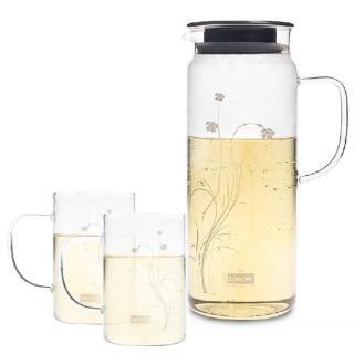 【Artist】卡佛冷熱兩用耐熱玻璃水杯組(水壺1300ml+水杯250ml*2)