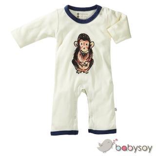 【美國 Babysoy】Janey Baby  有機棉長袖連身衣611(猩猩)