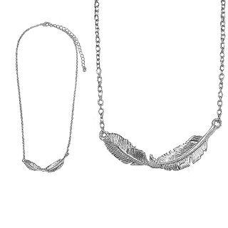 【摩達客】精緻銀色羽毛造型項鍊(現貨)