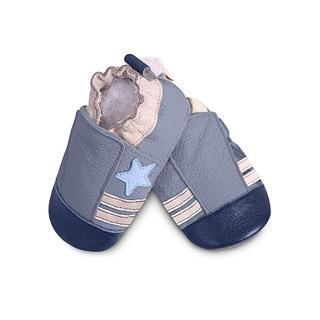 【英國 shooshoos】安全無毒真皮手工鞋/學步鞋/嬰兒鞋_藍色小星星(公司貨)