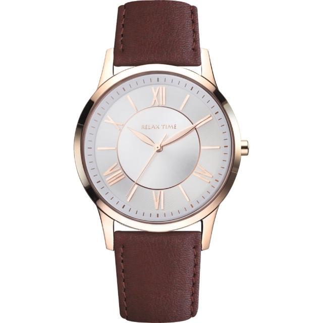 【RELAX TIME】RT58 經典學院風格腕錶-玫瑰金框x黑/42mm(RT-58-16M)