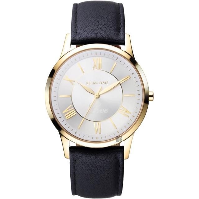 【RELAX TIME】RT58 經典學院風格腕錶-金框x咖啡/42mm(RT-58-15M)