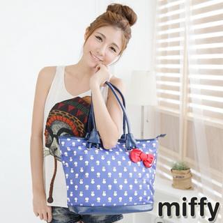 【Miffy米菲】滿版米菲系列(托特包-寶石藍)