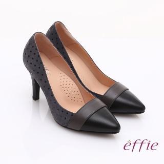 【effie】輕透美型 羊皮拼接絨面點點高跟鞋(灰)