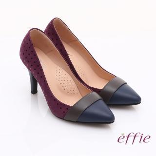 【effie】輕透美型 羊皮拼接絨面點點高跟鞋(紫)