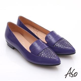 【effie】輕透美型 鏡面羊皮混異材質樂福平底鞋(紫)