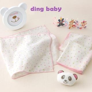 【ding baby】純棉紗布澡巾-3入/台灣製嬰兒寶寶用品浴巾洗臉巾(粉點)