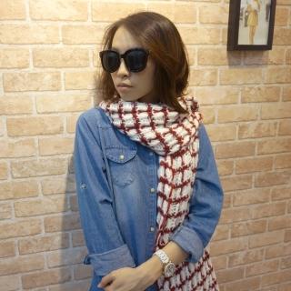 【Lus.G】鏤空勾織粗毛線格紋圍巾(共4色)