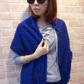 【Lus.G】英式粗針勾織千鳥紋厚圍巾(共4色)