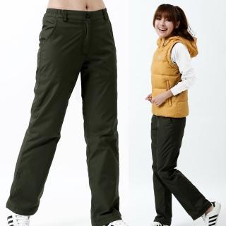 【遊遍天下】女款顯瘦直筒防風防潑水禦寒刷毛保暖褲/ 防風雪褲P107墨綠(S-3L)