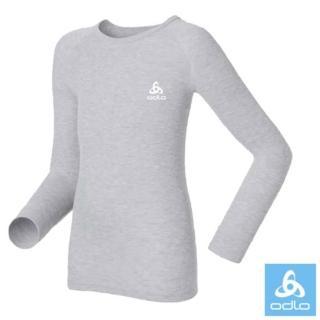 【瑞士 ODLO】effect 兒童.女圓領頂極機能型銀離子保暖內衣(深麻灰.10459)