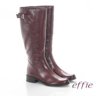 【effie】魅力時尚 真皮立體壓紋低跟直筒長靴(咖啡)