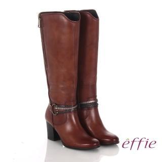 【effie】魅力時尚 真皮V型金屬鍊條粗高跟長靴(茶)