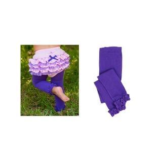 【美國 RuffleButts】小公主甜美荷葉邊內搭褲/襪_神秘深紫(RBRT007)