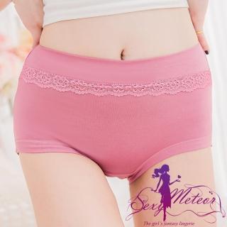 【Sexy Meteor】PA2437大尺碼-莫代爾棉蕾絲花邊高腰三角內褲(甜紫藕)