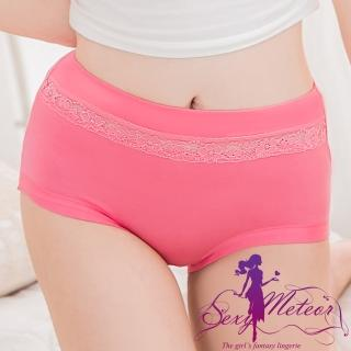 【Sexy Meteor】PA2440全尺碼-鏤空蕾絲莫代爾中高腰三角內褲(珊瑚紅)
