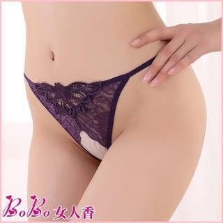 【BoBo女人香】a媚姬情趣內褲-蕾絲刺繡開檔免脫丁字褲-小丁C901-6(玫瑰紫)