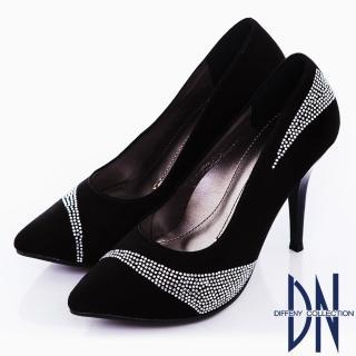 【DN】玩美性感 流線水鑽羊麂皮尖頭高跟鞋(黑)