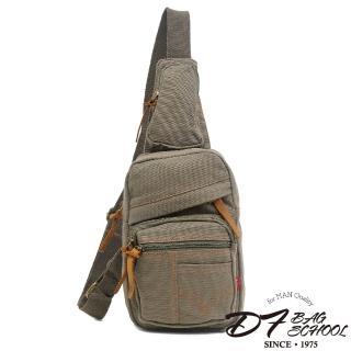 【DF BAGSCHOOL】復古經典帆布款單肩式斜背包(共2色)