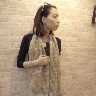 【Lus.G】韓風女伶千鳥紋窄版圍巾(共2色)
