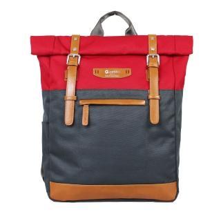 【estilo】時尚玩色系列 撞色設計 後背包(紅)