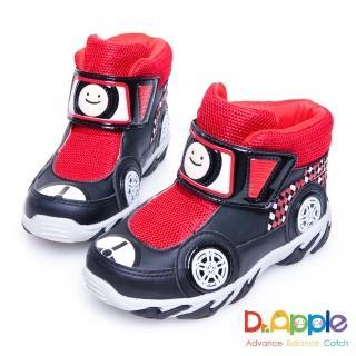 【Dr. Apple 機能童鞋】超拉風急速賽車手中筒保暖童靴(黑)