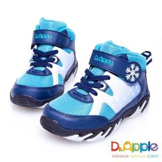 【Dr. Apple 機能童鞋】白雪飄飄溫暖中筒童靴(藍)