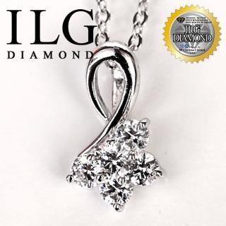 【ILG鑽】頂級八心八箭擬真鑽石項鍊-繁花似錦款-主鑽20分 NC068 時尚婚禮美鑽(白K金色)