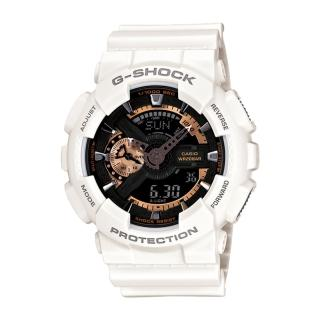【CASIO 卡西歐 G-SHOCK 系列】機械風金屬設計_成熟沉穩的古銅色中性錶(GA-110RG 白)