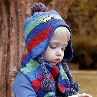 【美娜甜心】韓國高質感小汽車嬰兒童毛帽/圍巾/童裝帽子(兩件式)