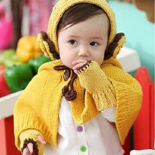 【美娜甜心】韓國同步高質感手工花朵嬰兒童披肩/露指手套/保暖耳套/兒童毛帽/童裝帽子(三件式)