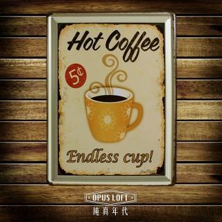 【OPUS LOFT純真年代】30X40仿舊鐵皮畫/壁飾/壁貼(TP2007 HOT Coffee)