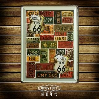 【OPUS LOFT純真年代】30X40仿舊鐵皮畫/壁飾/壁貼(TP2043 車牌合圖)