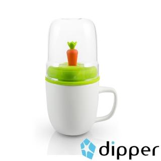 【dipper】1+1胡蘿蔔雙杯組(馬克杯+玻璃杯子+攪拌棒+杯蓋-咖)