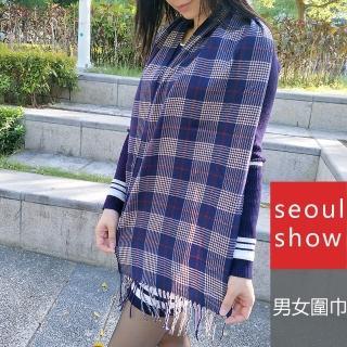 【Seoul Show】經典條格紋仿羊絨圍巾11款(深藍 紅線卡其線格)