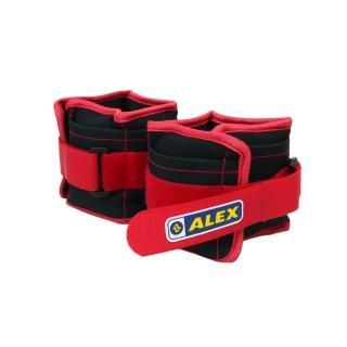 【ALEX】2KG 沙包型加重器-台灣製 慢跑 健身 重量訓練 可拆式(黑紅)