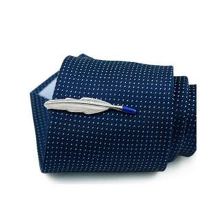 【拉福】領帶夾藍尾葉領夾帶領夾(銀色系)