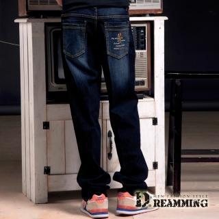 【Dreamming】騎士刺繡刷色伸縮中直筒牛仔褲(藍色)
